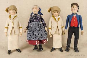 Four Steiff felt dolls