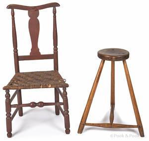 New England painted rush seat side chair
