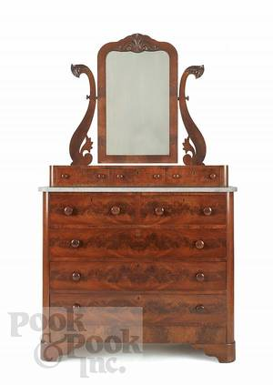 Victorian walnut dresser with mirror