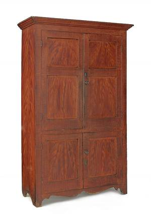 New Jersey painted pine wall cupboard ca 1820