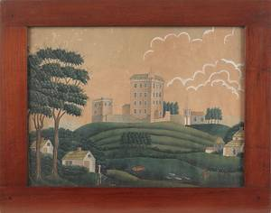 Watercolor and gouache landscape with a large estate atop a hill mid 19th c