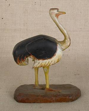 Carved and painted pine figure of an ostrich early 20th c