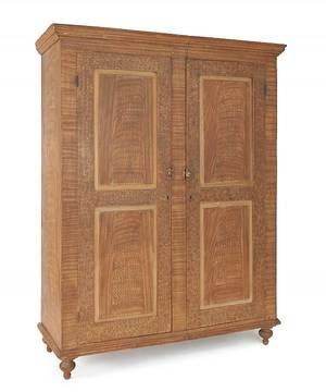 Pennsylvania painted poplar wall cupboard ca 1830