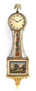 New England Federal mahogany and giltwood banjo timepiece