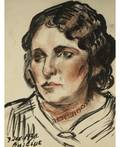 DAVID BURLIUK RUSSIANAMERICAN 18821967 Portrait of Woman with Necklace