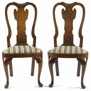 Pair of walnut Queen Anne style dining chairs