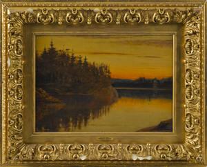 American oil on board sunset landscape