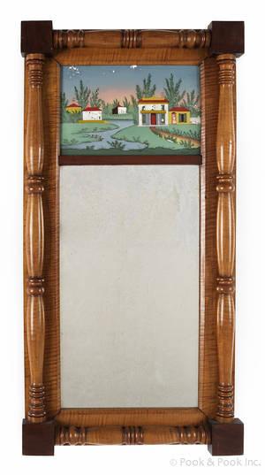 Pennsylvania Sheraton tiger maple mirror early 19th c