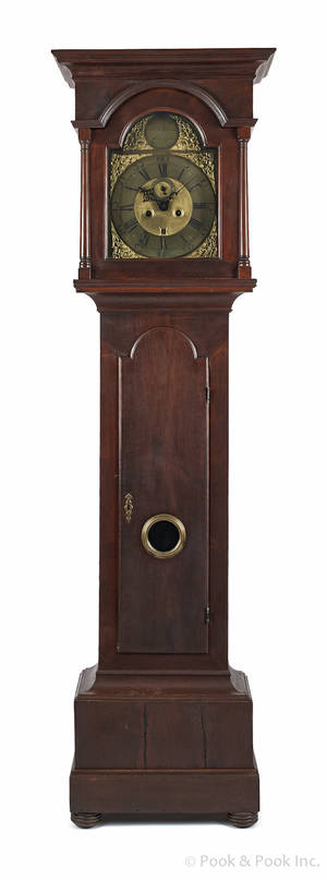 Chester County Pennsylvania Queen Anne walnut tall case clock ca 1755