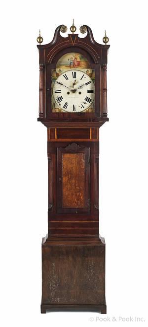 English mahogany and oak tall case clock early 19th c