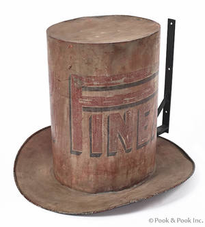 Large painted zinc top hat trade sign late 19th c