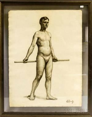 American School 20th Century Three Academic Male Nude Figure Studies
