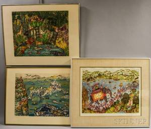 Franoise Deberdt French b 1934 Seven Fanciful Prints
