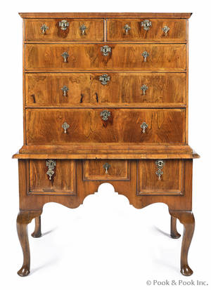 George II burl veneer high chest