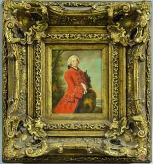 British School 20th Century Gentleman in a Red 18th Centurystyle Coat
