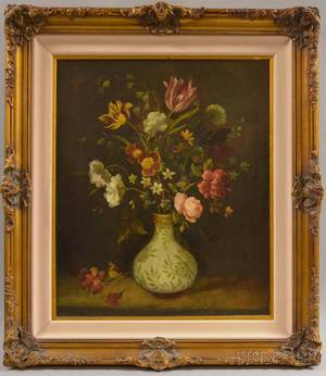 Continental School 19th Century Still Life with Flowers in a Vase