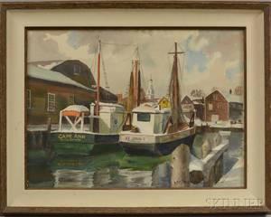 Arthur R Safford American 19001992 Cape Ann Wharf