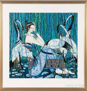 Framed Ting Shao Kuang Chinese b 1939 Lithograph of a Woman and Cranes 1984