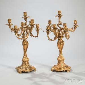 Pair of Giltbronze Rococostyle Sevenlight Candelabra