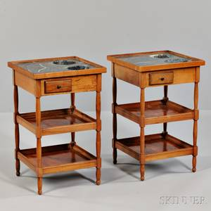 Pair of Louis Philippe Marbletop Fruitwood Rafraichissoir Tables