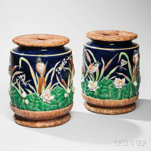 Pair of George Jones Majolica Garden Seats