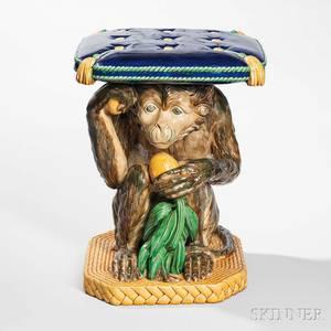 Mintons Majolica Crouching Monkey Garden Seat