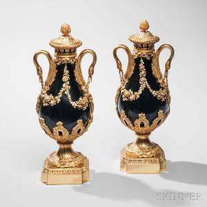 Pair of French Giltbronzemounted Porcelain Vases