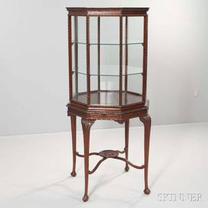 Continental Octagonal Mahogany Display Cabinet on Stand