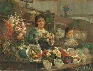 Attributed to tienne Auge French act 18651872 The Flower Sellers