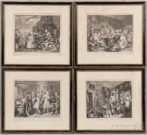 William Hogarth British 16971764 A Rakes Progress Set of Eight Framed Prints