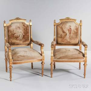 Pair of Louis XVIstyle Tapestryupholstered Giltwood Armchairs