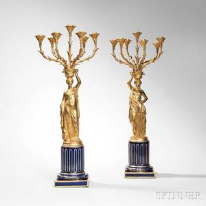 Pair of Napoleon III Porcelain and Giltbronze Figural Candelabra