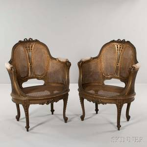 Pair of Louis XVIstyle Caned Armchairs