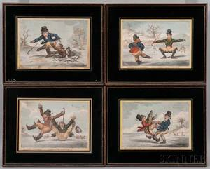 James Gillray British 17571815 Elements of Skateing A Set of Four Framed Prints