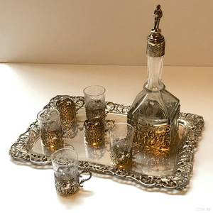 German 800 Silver and Glass Cordial Set