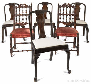 Set of four Berkey  Gay Queen Anne style mahogany dining chairs