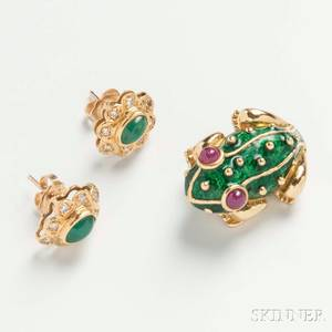 18kt Gold Enamel and Ruby Frog Brooch and a Pair of Emerald and Diamond Earrings