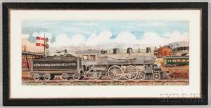 American School 20th Century Portrait of a New York Central Lines Railroad Engine