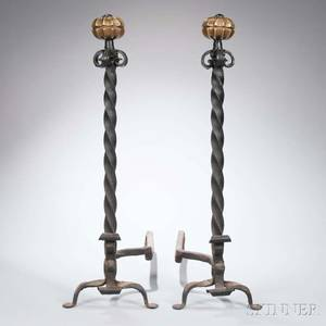 Pair of Tall Brass and Wrought Iron Andirons