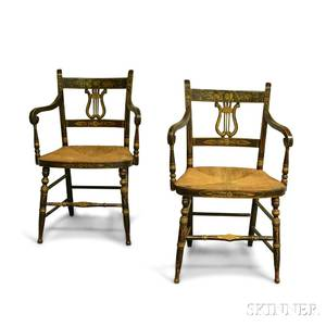 Pair of Classical Blackpainted and Stencildecorated Lyreback Fancy Armchairs