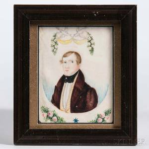 AngloAmerican School Early 19th Century Miniature Portrait of a Young Man in a Brown Jacket