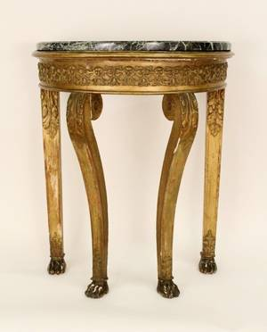 19th C Carved Gilt Wood Marble Top Demilune