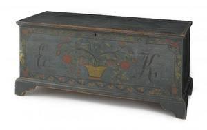 Schoharie New York painted pine blanket chest ca 1800