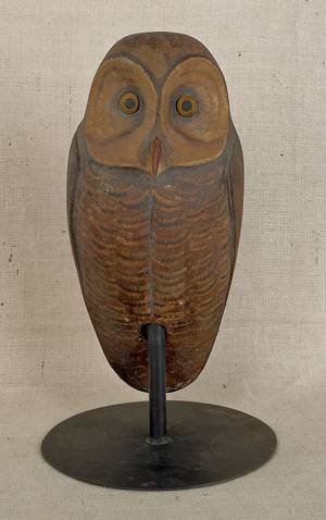 Carved and painted owl decoy 20th c