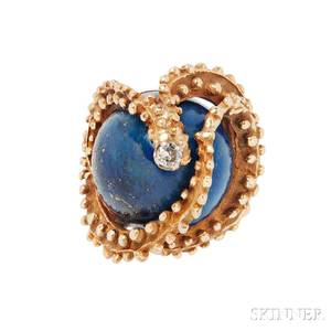 18kt Gold Lapis and Diamond Ring Erwin Pearl