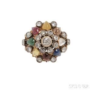 Diamond and Gemstone Dome Ring