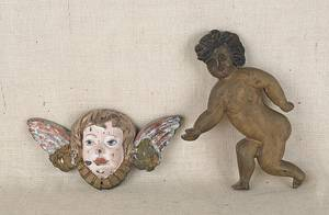 Carved and painted cherub plaque late 19th c