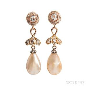 Antique Gold Baroque Pearl and Diamond Earrings