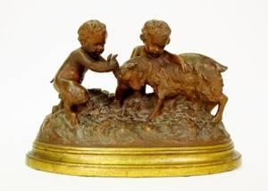 Terra Cotta Figural Group w Satyr Boy  Goat