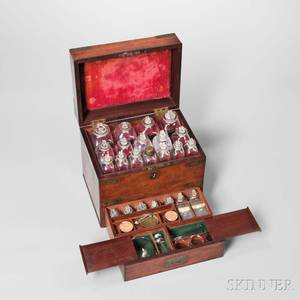 19th Century Mahogany Brassbound Traveling Apothecary Chest